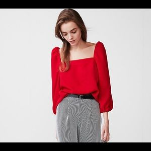 Square Neck Puff Sleeve Blouse Red